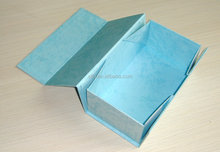 High quality new design stronge magnetic closure paper folding flap cardboard gift box in light blue special paper