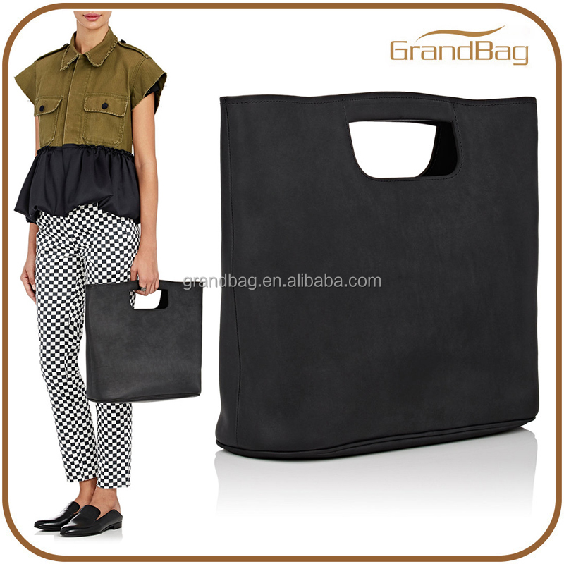 simple black smooth leather women clutch bag lady hobo bag boxy tote bag
