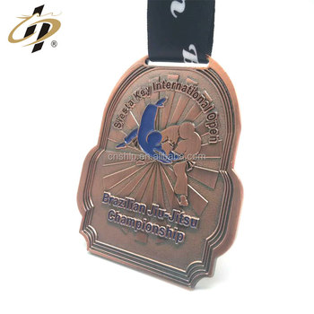 Custom antique copper metal judo sports award medallion with ribbon
