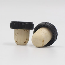 good quality natural cork with plastic knurl cap for spirits bottle