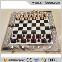 Chess Set Wooden Chessboard with Wood Chess Game Pieces Russian Board Game 40*20*3.5CM