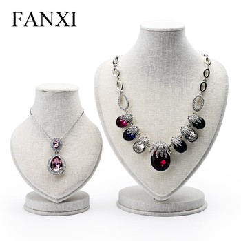 FANXI China Product Custom Linen Heart Display Stand For Necklace/Pendant Mannequin Doll Jewelry Holder Figurines