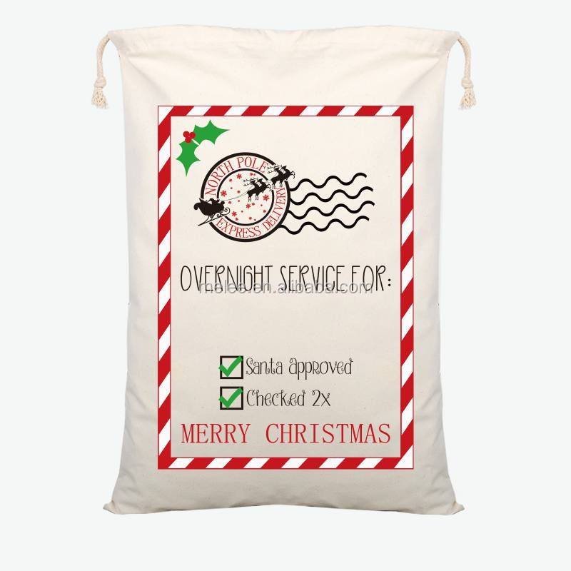 New arrival Christmas Simple Art <strong>Gift</strong> Bag Red drawstring Canvas Santa Sack Vintage Christmas Stocking Bag Decoration