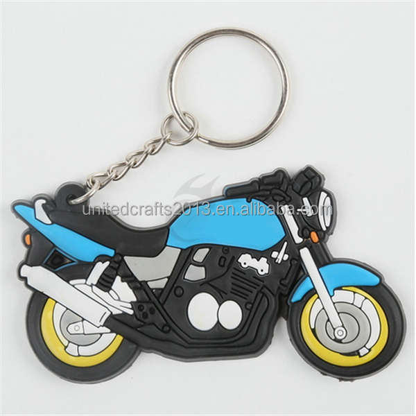 promotional gifts custom rubber motorcycle keychain