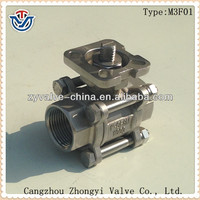 Three pieces 1000 wog threaded full port stainless steel ball valve with ISO 5211 direct mounting pad