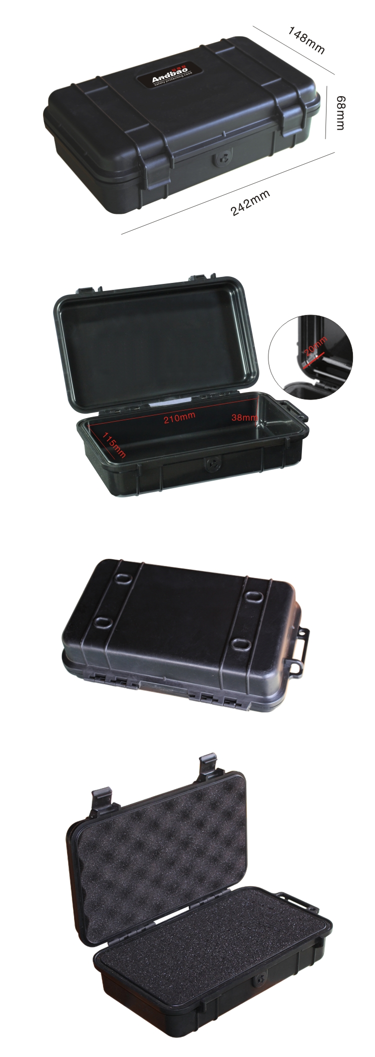 Plastic waterproof equipment carrying cases