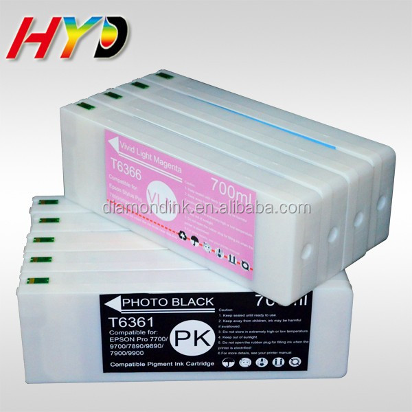Factory Price T6361-T6369 T636A T636B 700ml Compatible ink Cartridge with chip and ink for Epson 7900 9900 ink Cartridge