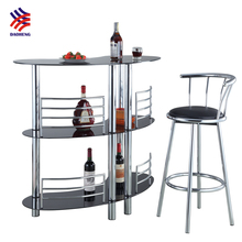 Commercial table glass top stainless steel metal high home bar counter bar table for sale