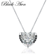 [BLACK AWN] Fine Genuine 925 Sterling <strong>Silver</strong> 0.8Ct Jewelry Trendy Heart Black&White Stone Necklace Women Bijoux Femme P011