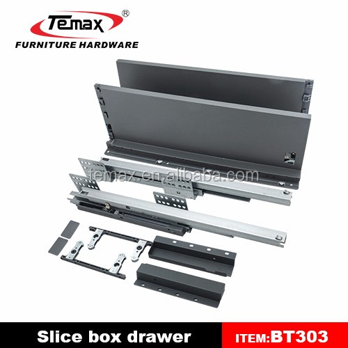 Slice Silent soft close 200mm metal box drawer slide