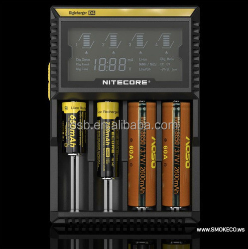 Wholesale Original Portable nitecore D4 intelligent 4-bay lcd high power li-ion battery charger