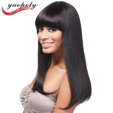 Natural Looking Virgin Hair Brazilian Human Silky Straight Full Lace Wig