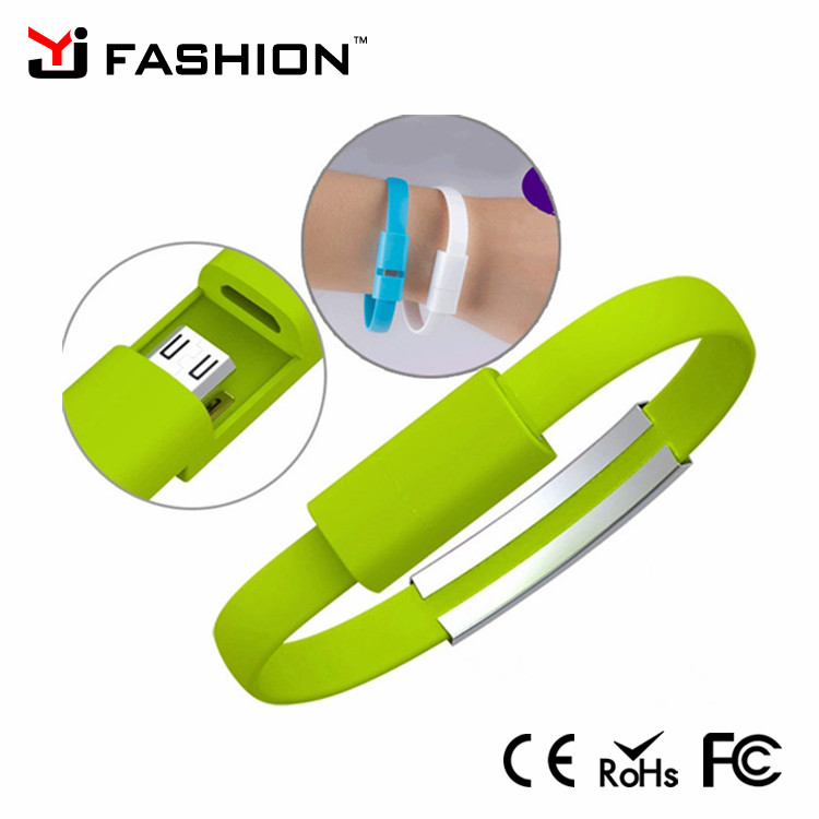 Flat USB Micro Cable silicon bracelet Wristband Bracelet charger