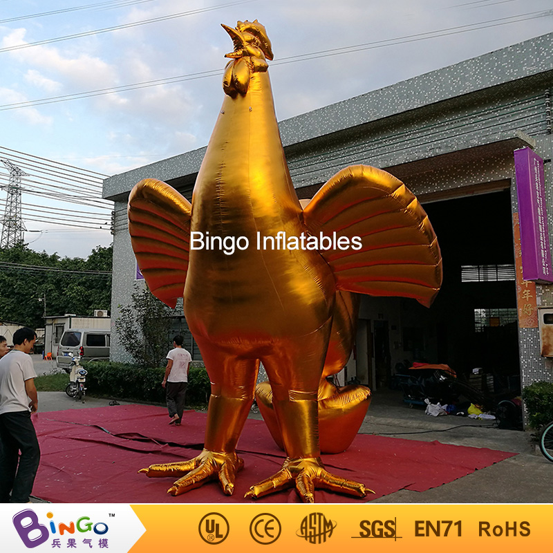 Decorative 5m golden giant inflatable rooster for sale