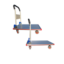Storage anodizing foldable platform hand truck trolley with four wheels