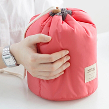 Cheap Promotional Fashion Round Barrel Shape Cosmetic Custom Travel Make up Bag