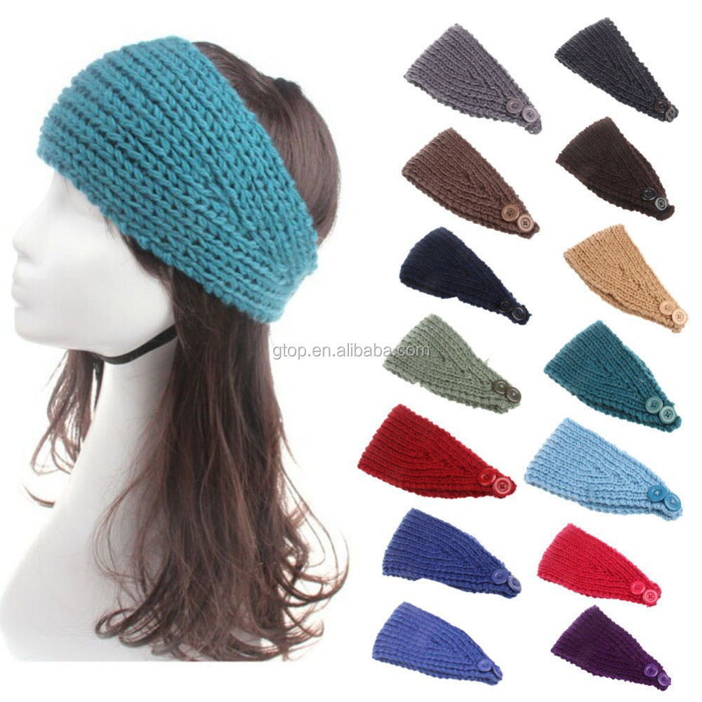 Crochet Hair Jewelry : New Knitted Beads Hair Accessories Women Hair Band Crochet Ear Warmer ...