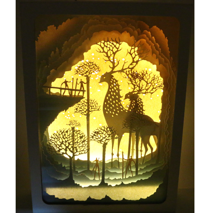 Shadow box frame with LED paper craft shadow picture box frame 3D wall art photo frame paper cut light box