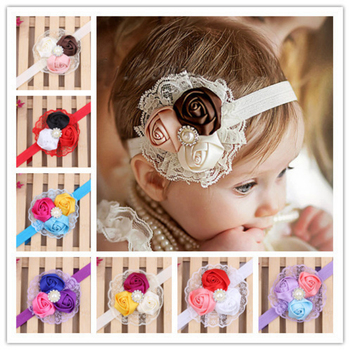 10colors European American Baby Rose Flower Girls Lace Hairband Elastic Headband For Elegant Wholesale Girls Hair Accessories