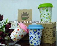 Hot sell existing porcelain travel coffee mug with silicon lid (mid size)