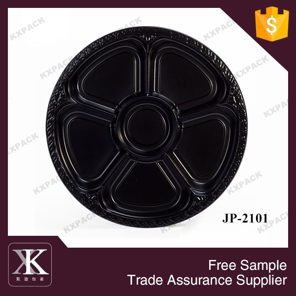 JP-2101 Ready Stock 5-Compartment Round Disposable Sushi Tray