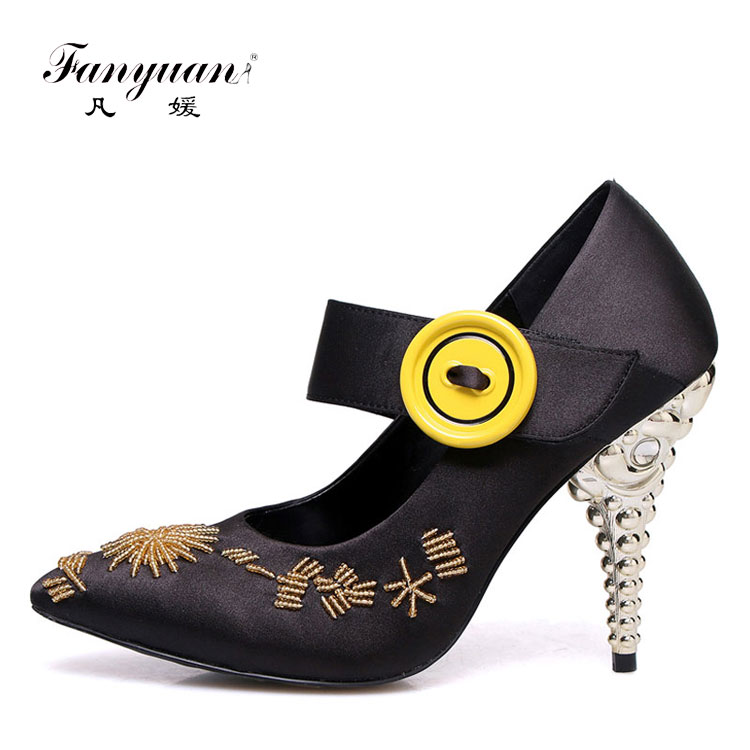Novelty 2018 Spring Ankle Strap Lady Pump Shoes Print Silk Shoes Women Heel