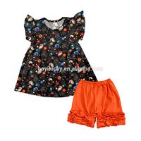 summer cute girl outfits planet pattern baby clothes sets 2017 new fashion design low price