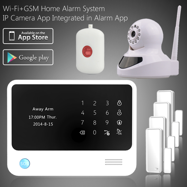 2016 newest smart home alarm WIFI GPRS GSM home alarm system Android / IOS APP home burglar alarm system with IP Camera