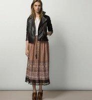 2016 Custom And Stock Items Spring And Summer New Fashion Design Elastic Waist Tassel Maxi Skirt