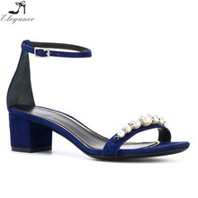 2018 Summer Shoes Woman Fashion Ankle Buckle Strap Peep Toe Mid-heel Ladies Beaded Decoration Sexy Sandals Blue Suede Shoes