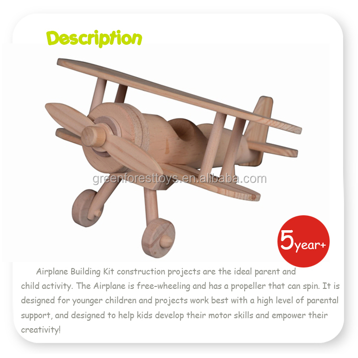 Natural Wood Model Airplane Craft Toys for Wooden Diy Kits