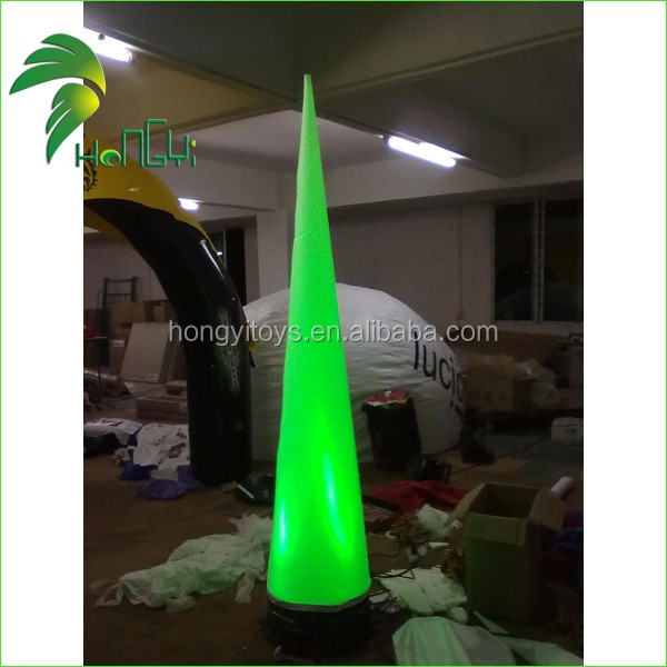 Decorative Inflatable Lighting Cone , Custom Shape Cololrful Inflatable Led Pillar Light For Event