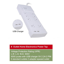 UL/CUL 15A 125V Switch with circuit breaker&surge protector 8 outlet Home Electronics Relocatable Power Tap with 2USB socket
