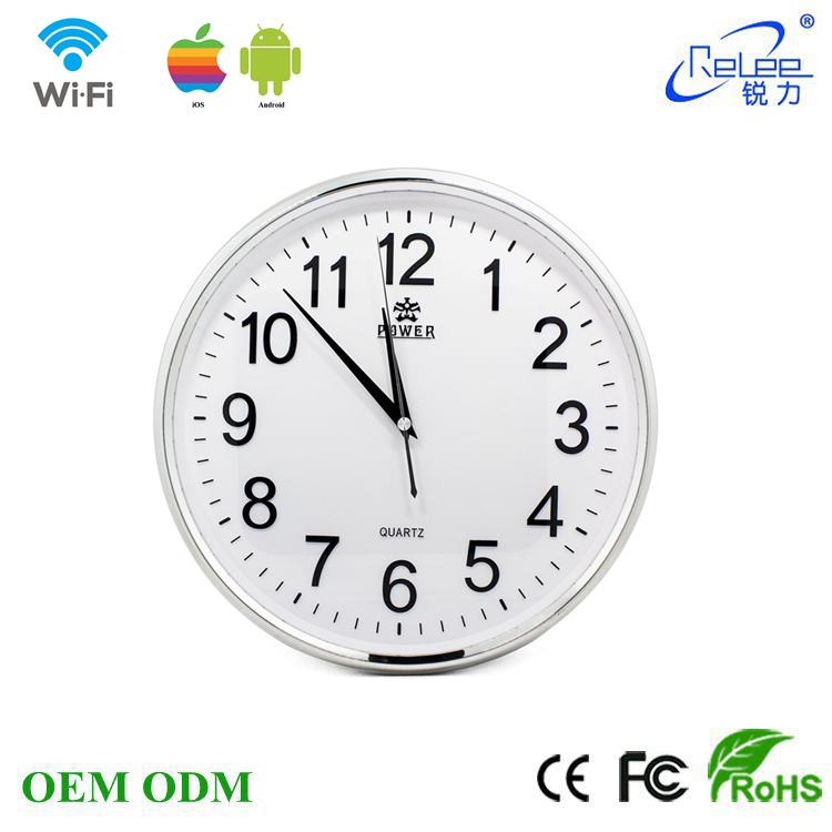 HD720P WiFi P2P round wall clock camera wireless hidden spy surveillance monitor camcorder