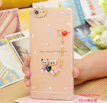 Lovely Animal 3D glitter bling dimond Ears Mirror Case Soft TPU Silicone Cover For iphone 6 6plus with strap CA17214