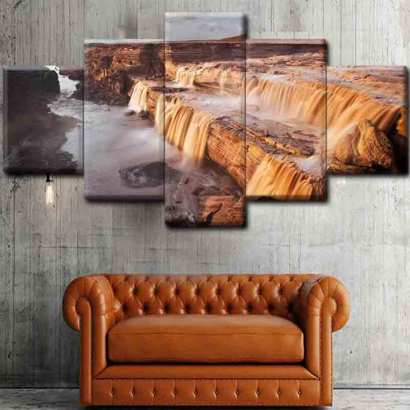 5pcs unFrame Wall Art Hukou waterfall Natural landscape Paint Canvas Oil Paintings Art Pictures