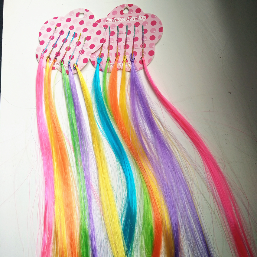 synthetic silk clip hair extention colorful hiar accessory for children