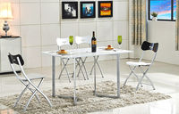 Modern latest designs of space saving small extending wooden dining table