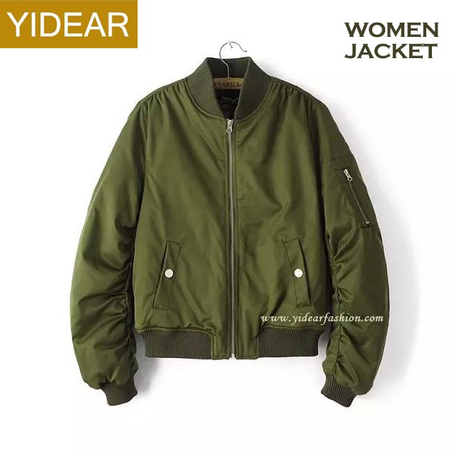 Wholesale Cheap Price Women Green Satin Bomber Jackets Winter Cotton Padded Cool Bomber Jackets Zip Up Ladies Coat
