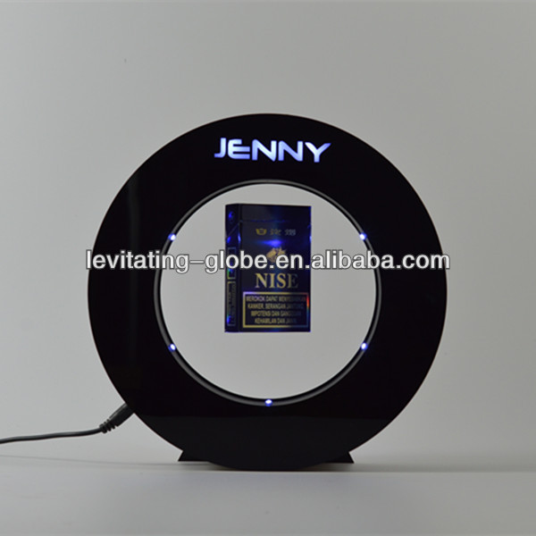 Black round magnetic floating levitating cigarette box pack display,with LED and lighting logo