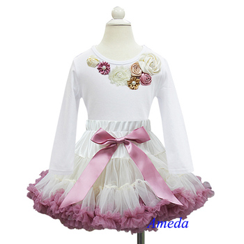 Girls Graceful Cream Dusty Pink Pettiskirt with Rosettes Vintage Garden White Long Sleeves Tee 1-7Y
