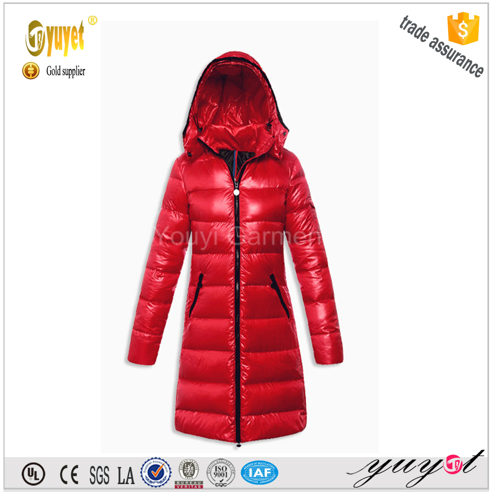 customize long style warm down jacket for women