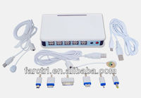 10 port usb hub universal multi port usb charger secure alam display device with remote control