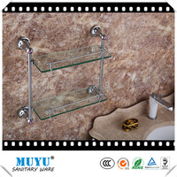 Functional and decorative high quality Bathroom accessory set hotel style wall-mounted chrome plated brass dual tier glass shelf