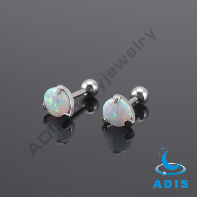 Stainless steel opal ear tragus ear cartilage plugs jewelry wholesale