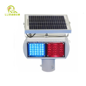 12V/Solar powered mini red and blue LED flashing traffic strobe lights