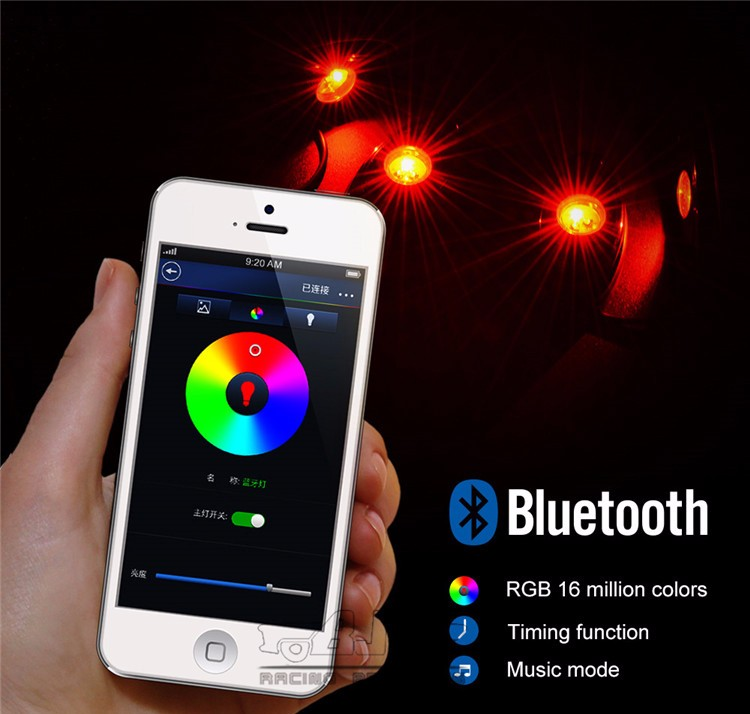 BJ-ROL-002 Off Road Truck SUV Car 4Pods RGB LED Rock Light Bluetooth Phone Control Multicolor Neon Light