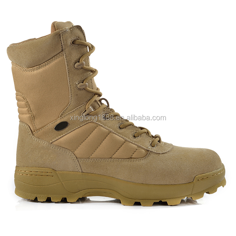 2017 Latest Men Shoes Comfortable Leather Khaki Color Safety Tactical Boots For Man