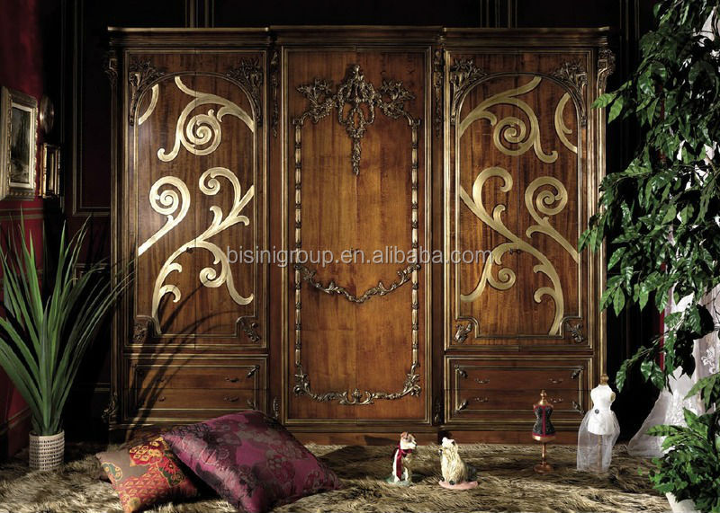 Luxury Antique Baroque Style Wood Wardrobe with 3 Doors BF11-0614a