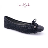 2016 new design vein bow tie PU leather flat shoes for ladies